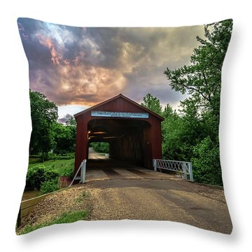 Red Coverd Bridge With Pretty Sky  Throw Pillow