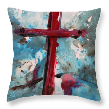 Throw Pillow featuring the painting Red Cross by M Diane Bonaparte