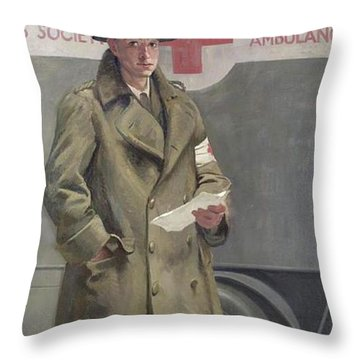 Red Cross Officer In France Throw Pillow