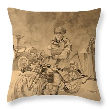 Red Cross Throw Pillow by Ray Agius