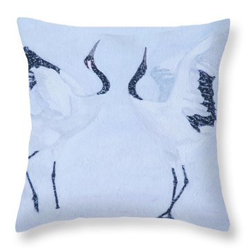 Red-crowned Crane Pair Throw Pillow