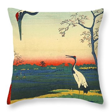 Red Crowned Cranes 1857 Throw Pillow by Padre Art