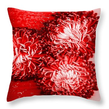 Red Crysanthiam Throw Pillow