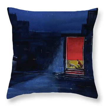 Throw Pillow featuring the painting Red Curtain by Anil Nene