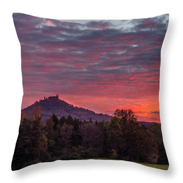 Red Dawn Over The Hohenzollern Castle Throw Pillow
