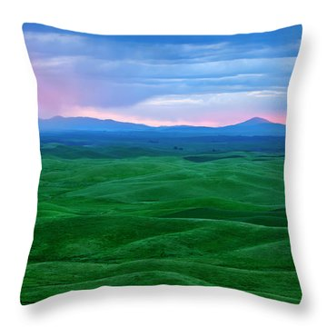 Red Dawn Over The Palouse Throw Pillow by Mike  Dawson