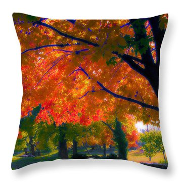 Red Day Throw Pillow by Kat Besthorn