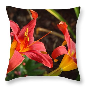 Red Daylilies Throw Pillow