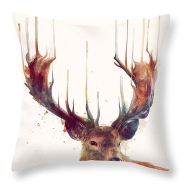 Red Deer Throw Pillow