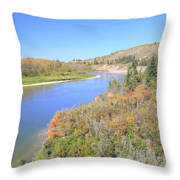 Throw Pillow featuring the photograph Red Deer River - Alberta by Jim Sauchyn