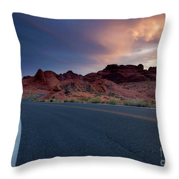 Red Desert Highway Throw Pillow