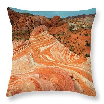 Red Desert Stripes Throw Pillow