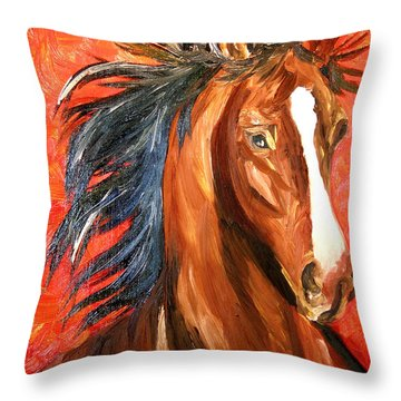 Red Devil Throw Pillow by Michael Lee