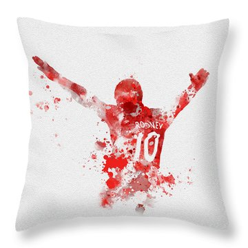 Red Devil Portrait Throw Pillow by Rebecca Jenkins