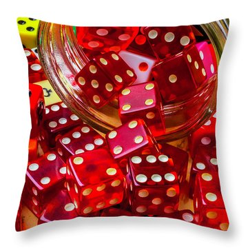 Red Dice Spilling Out Throw Pillow