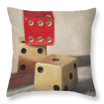 Throw Pillow featuring the painting Red Die by Joe Winkler