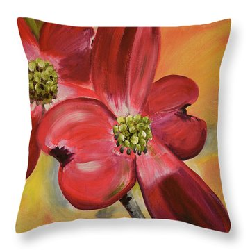 Red Dogwood - Canvas Wine Art Throw Pillow