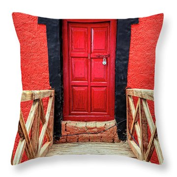 Throw Pillow featuring the photograph Red Door At A Monastery by Alexey Stiop