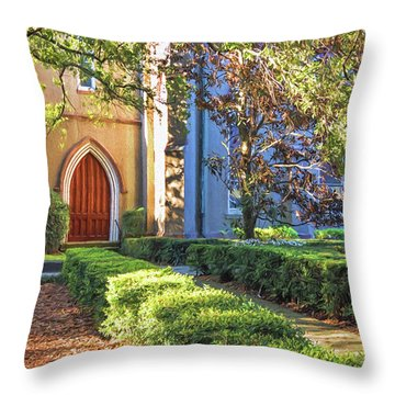Throw Pillow featuring the photograph Red Door Church by Kim Hojnacki