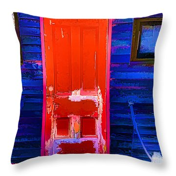 Red Door Harbor Throw Pillow