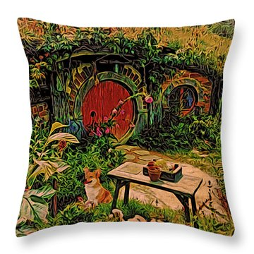 Red Door Hobbit House With Corgi Throw Pillow