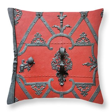 Throw Pillow featuring the photograph Red Door In Prague - Czech Republic by Melanie Alexandra Price