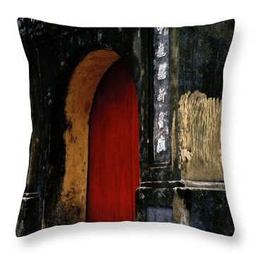 Red Doorway Throw Pillow by Shaun Higson