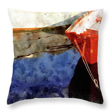 Red Dory Throw Pillow by Peter J Sucy
