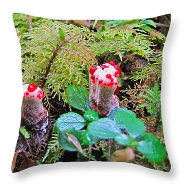 Throw Pillow featuring the photograph Red-dotted Mushroom by Sean Griffin