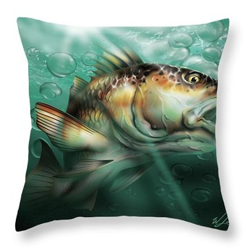 Red Drum Throw Pillow by William Love