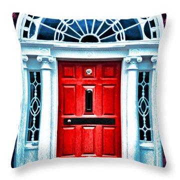 Red Dublin Door Throw Pillow by Dennis Cox WorldViews