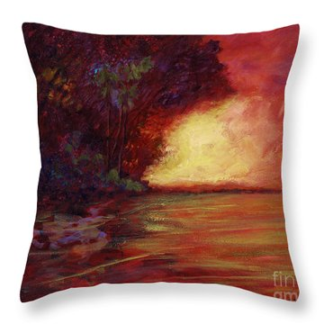 Red Dusk Throw Pillow