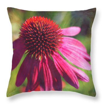 Throw Pillow featuring the photograph Red Echinacea by Anna Louise