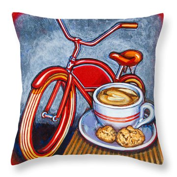 Red Electra Delivery Bicycle Cappuccino And Amaretti Throw Pillow