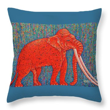 Red Elephant  Throw Pillow by Opas Chotiphantawanon