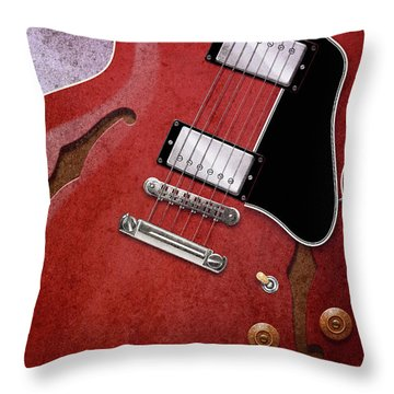 Red Es-335 Throw Pillow