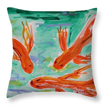 Throw Pillow featuring the painting Red Eye Koi by Mary Carol Williams