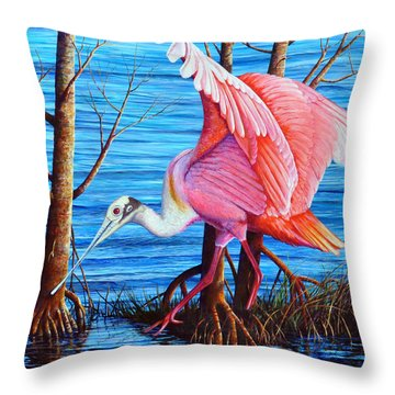 Throw Pillow featuring the painting Red Eye Squared by AnnaJo Vahle