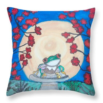 Throw Pillow featuring the painting Red Eyed Frog Singing To The Moon by Connie Valasco
