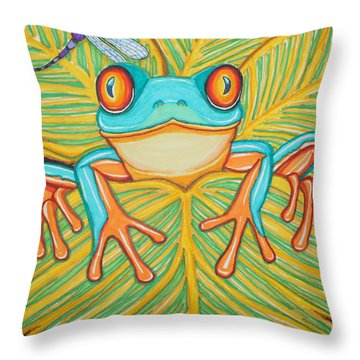 Red Eyed Tree Frog And Dragonfly Throw Pillow by Nick Gustafson