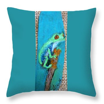 Red-eyed Tree Frog Throw Pillow by Ann Michelle Swadener