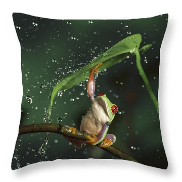 Red-eyed Tree Frog In The Rain Throw Pillow by Michael Durham