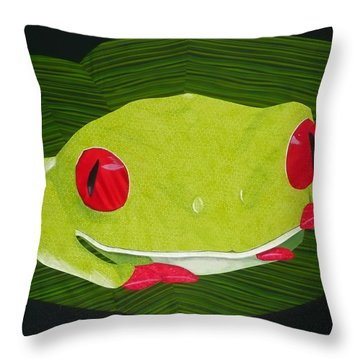 Throw Pillow featuring the tapestry - textile Red Eyed Tree Frog by Jo Baner