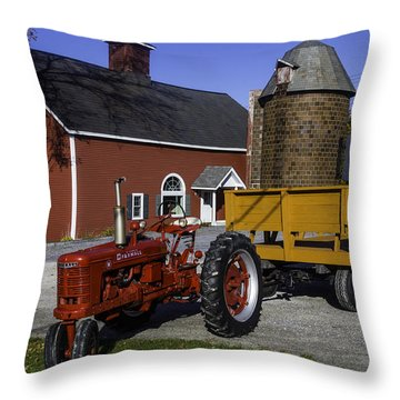 Red Farm Tractor Throw Pillow