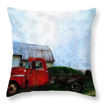 Red Farm Truck Throw Pillow by Bill Cannon