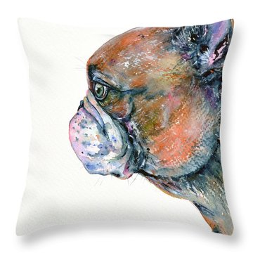 Throw Pillow featuring the painting Red Fawn Frenchie by Zaira Dzhaubaeva
