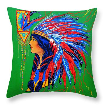 Throw Pillow featuring the painting Red Feathers by Debbie Chamberlin