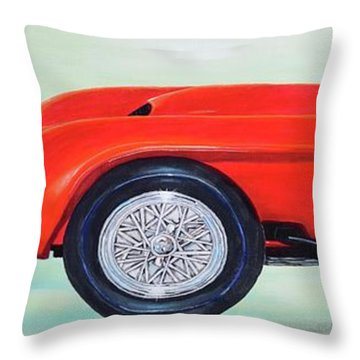 Throw Pillow featuring the painting Red Ferrari by Mary Scott
