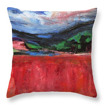 Red Field Landscape Throw Pillow