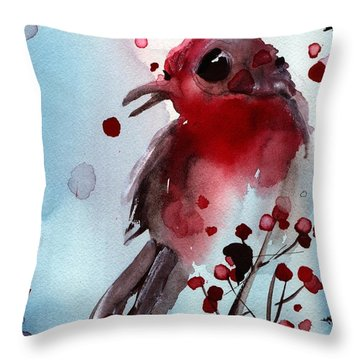 Red Finch In The Winterberry Throw Pillow